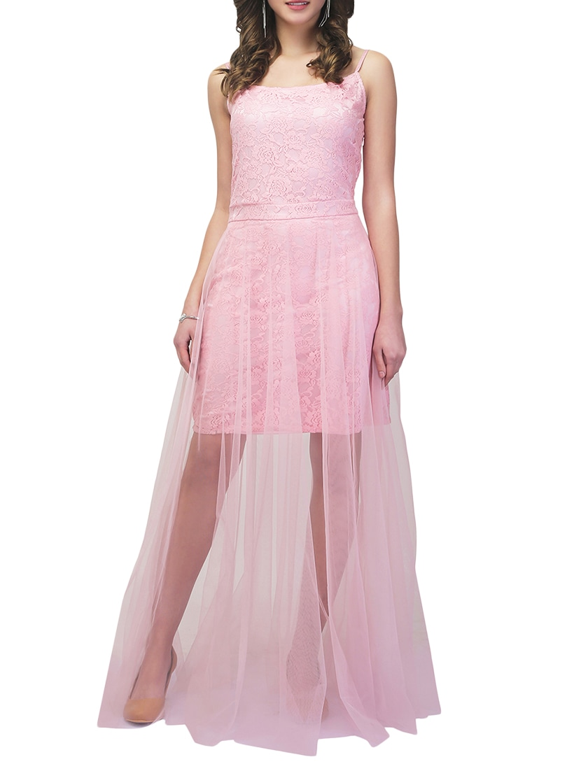 Buy Pink Lace Maxi Dress by Eavan - Online shopping for Dresses in ...