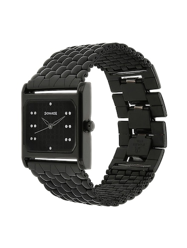 c0947e09640 Buy Black Dial Stainless Steel Watch 81 32nm01 by Sonata - Online ...