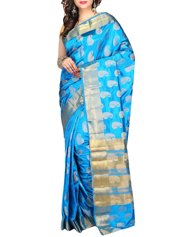 40fcea5976cba ... sky blue silk zari kanjivaram saree with blouse - 13042852 - Zoom Image  - 1