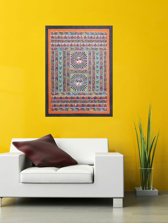 Buy Imithila Godna Style Mithila Folk Art Radha Krishna\'s Blessings ...