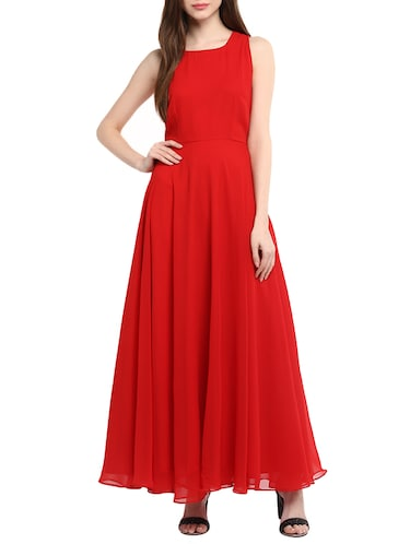 red georgette gown - 13064506 - Standard Image - 1