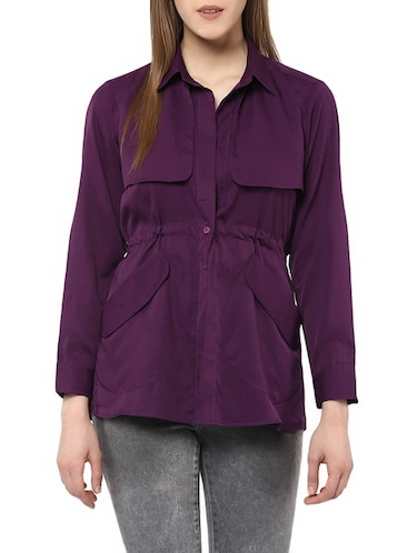 purple crepe summer jacket - 13065169 - Standard Image - 1