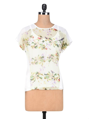 White georgette cotton printed top - 1307425 - Standard Image - 1