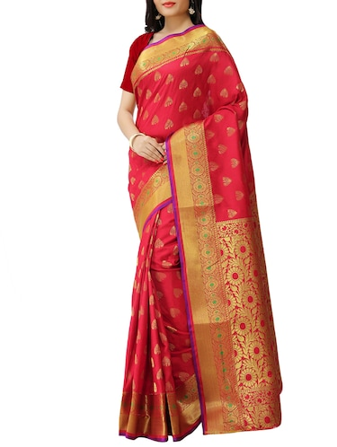 8fdab0aa3820d5 Buy Red Color Paithani Silk Blend Saree With Blouse for Women from ...