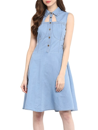 550c2b83fc10 Buy Light Blue Denim A-line Dress for Women from Stylestone for ₹953 at 47%  off