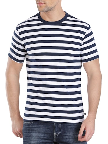 navy blue cotton striped t-shirt - 13120799 - Standard Image - 1