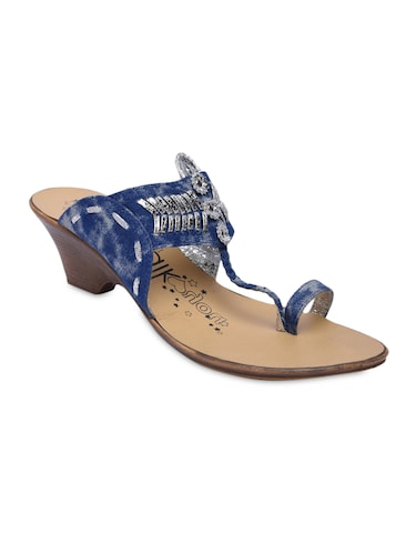 9bc1ea454 Buy Blue Faux Leather Beaded Flip Flops by Catwalk - Online shopping ...