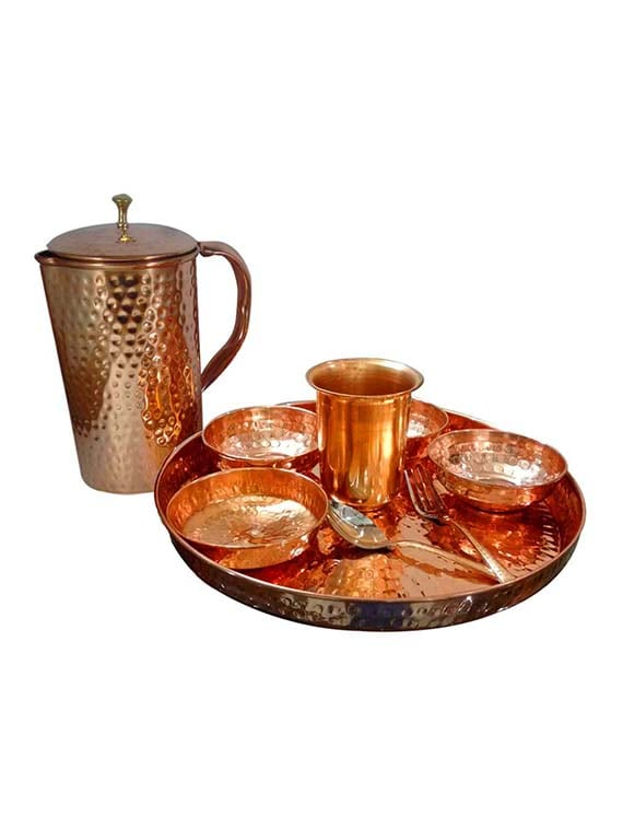 Buy Asiacraft Indian Dinnerware Pure Copper Traditional Dinner Set Of Thali Plate Bowls Jug Glass And Spoon Diameter 12 Inch by Asiacraft - Online ...  sc 1 st  Limeroad.com & Buy Asiacraft Indian Dinnerware Pure Copper Traditional Dinner Set ...