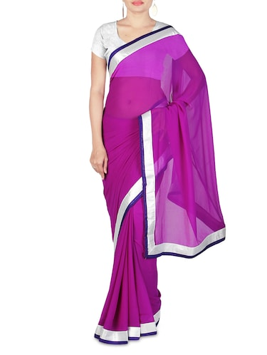 1a31fee688 Purple Faux Georgette Plain Bordered Saree - 1317850 - Very Small Image - 1