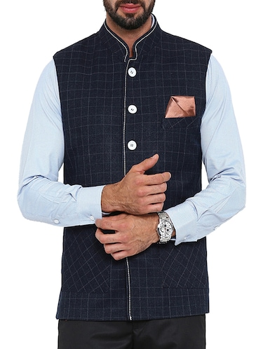 navy blue cotton nehru jacket - 13207000 - Standard Image - 1