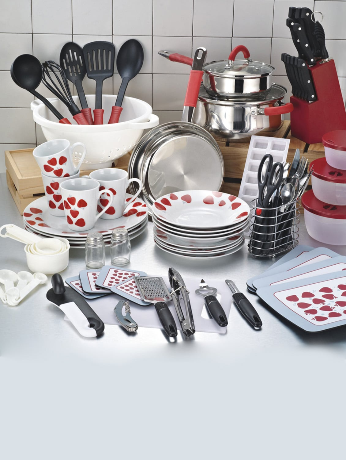 Buy Red Glass Stainless Steel Plastic Kitchen Set By Pakshala