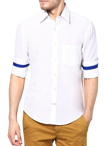 white linen casual shirt - 13214886 - Standard Image - 1