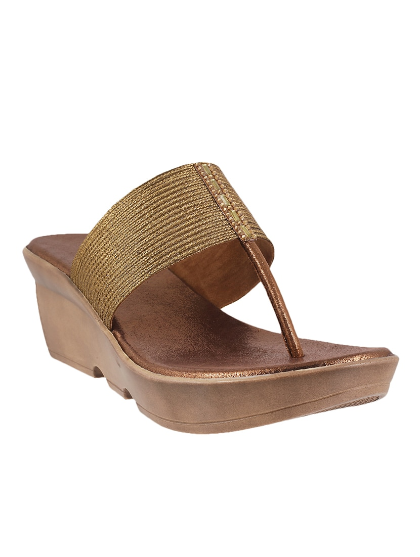 0ec4943e7914 Buy Gold Pu Tstrap Wedges by Mochi - Online shopping for Wedges in India