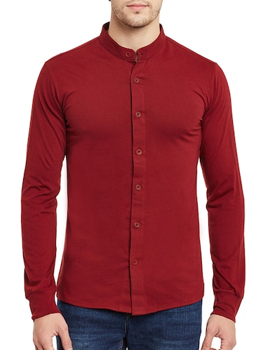 red cotton casual shirt - 13263143 - Standard Image - 1