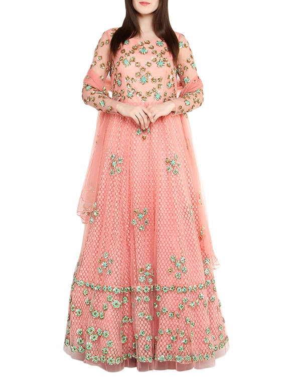 Buy Peach Embroidered Net Anarkali Suit Set by Red Couture - Online ...