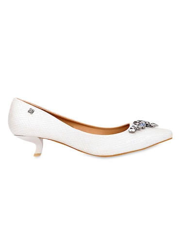 8632162a883 Buy White Embellished Faux Leather Kitten Heels for Women from ...