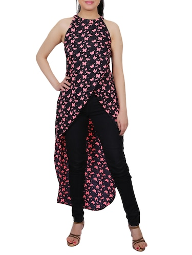 6f64ef8c7b Buy Black Printed Crepe Assymmetric Tunic for Women from Express 2 ...