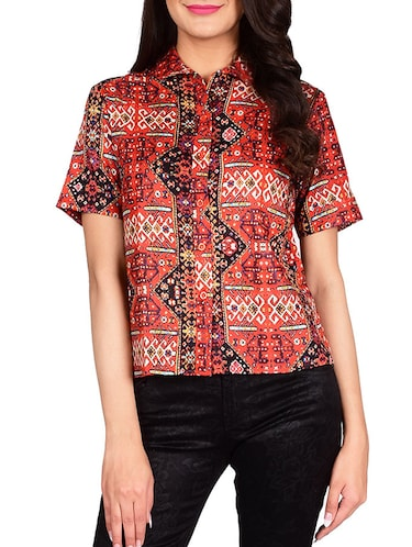 red cotton shirt - 13377087 - Standard Image - 1
