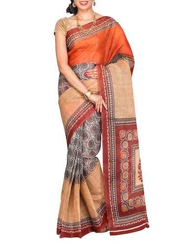 orange cotton blend printed saree with blouse - 13408711 - Standard Image - 1