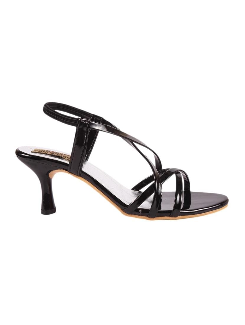 Black Patent Leather Back Strap Sandals