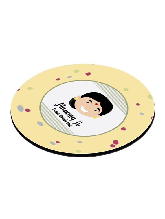 LOF Gifts For Mummy Ji Tussi Great Ho Punjabi maa Gifts For Mother's Day  Graphics Printed Round Coaster