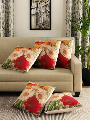 Romee Set Of 5 Polyester Floral Printed Cushion Cover - 13665689 - Standard Image - 1