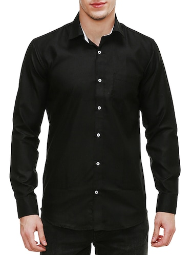 solid black cotton casual shirt - 13667900 - Standard Image - 1