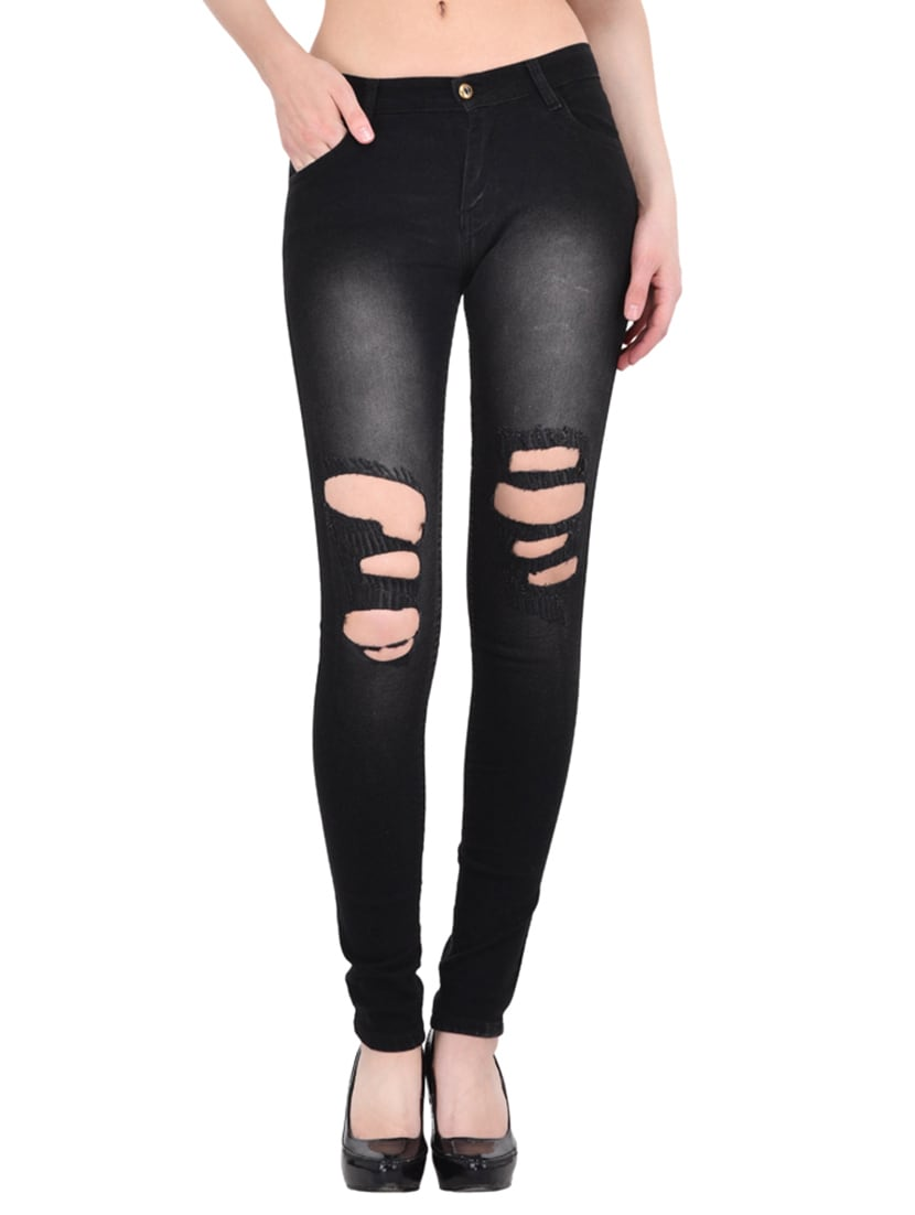 b1f7fafe44b Buy Black Distressed Denim Jean by Afw - Online shopping for Jeans in India