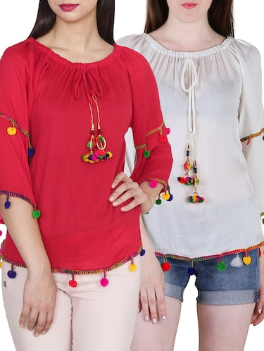 275c3d49122 Buy Set Of 2 Multicolored Rayon Tops for Women from Jolliy for ₹700 at 56%  off | 2019 Limeroad.com