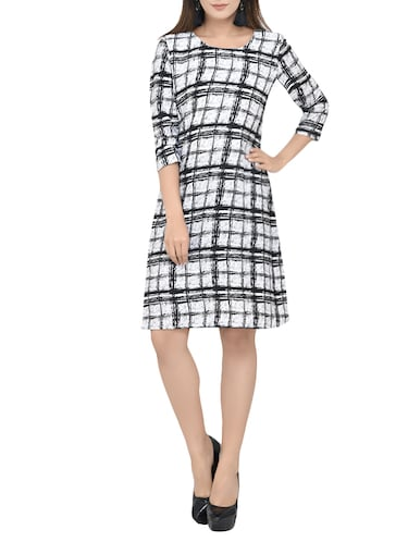 Checked a-line dress - 13741131 - Standard Image - 1