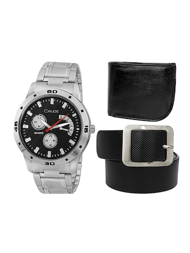 Crude Combo of Black Dial Watch-rg716 With Black Leather Belt & Wallet - 13742932 - Standard Image - 1
