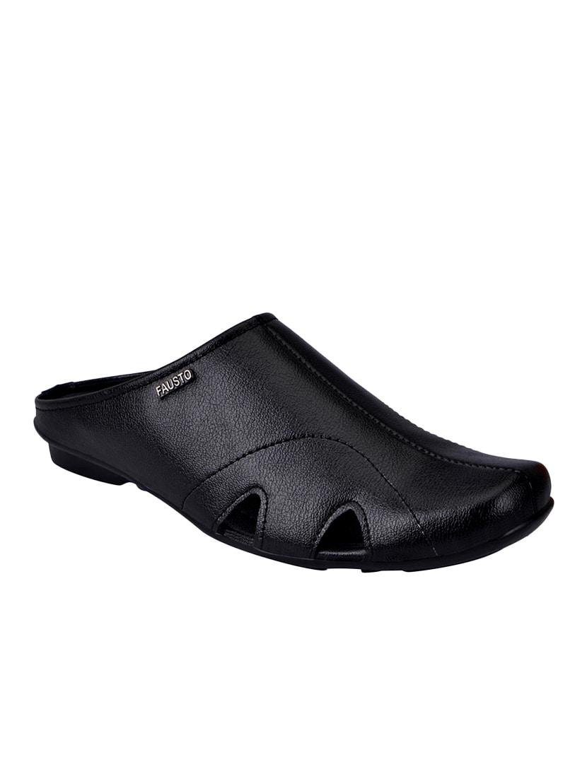 2ee6621d7416 Buy Black Leather Slip On Sandal for Men from Fausto for ₹699 at 0 ...