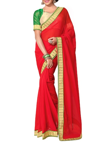 red georgette bordered saree with blouse - 13820617 - Standard Image - 1