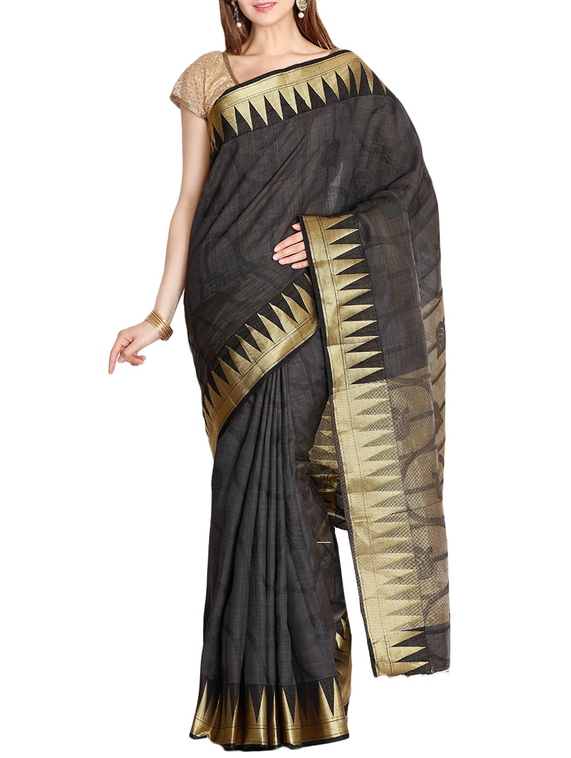 The Chennai Silks black bordered saree with blouse