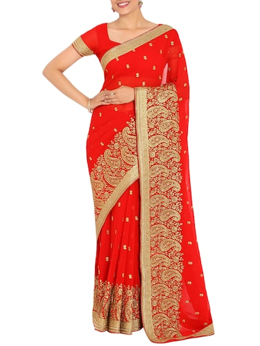 ae361695b1a9a7 Buy Soch Red Embroidered Saree With Blouse for Women from Soch for ...