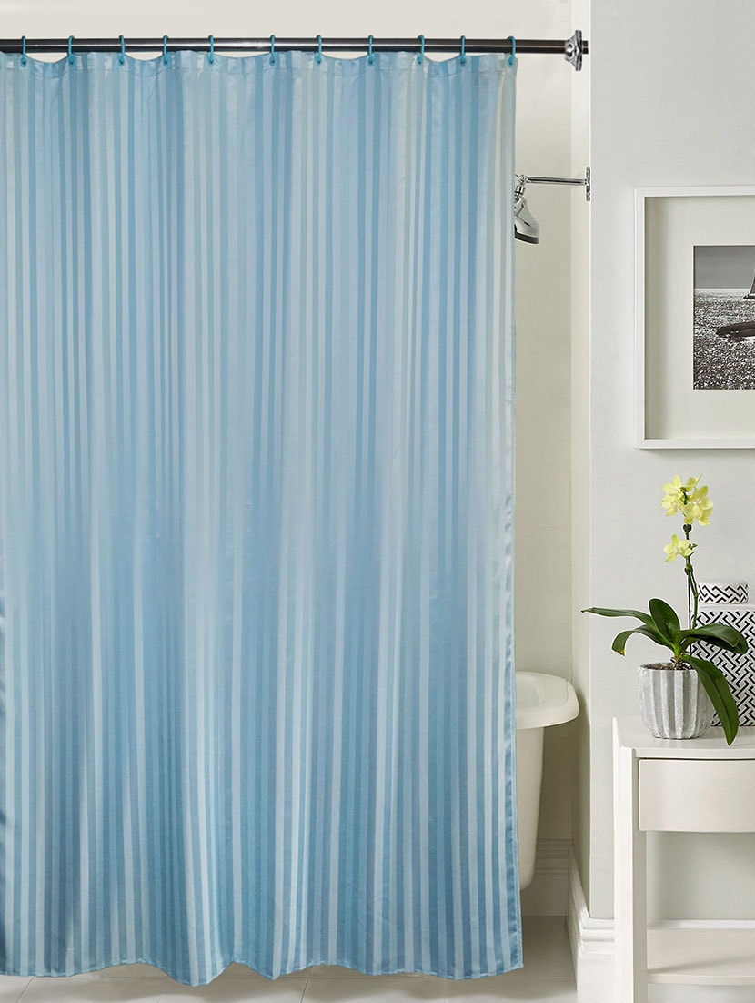 Buy Lushomes Thick Striped Light Blue Water Repellent Shower Curtain