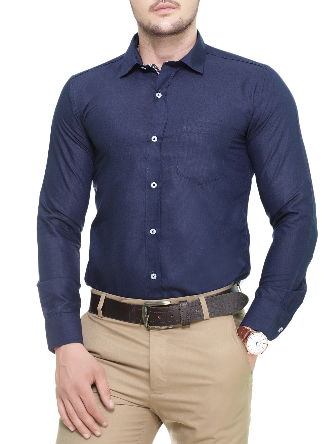 0f9712d60 ... navy blue cotton casual shirt - 13920761 - Zoom Image - 1