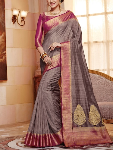 cb2ef015182d05 Buy Grey Raw Silk Woven Saree With Blouse by The Fashion Attire ...