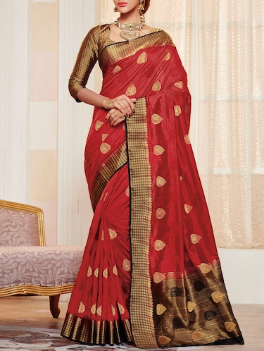 5a4906ecf4cc50 red raw silk woven saree with blouse - 13926024 - Very Small Image - 1