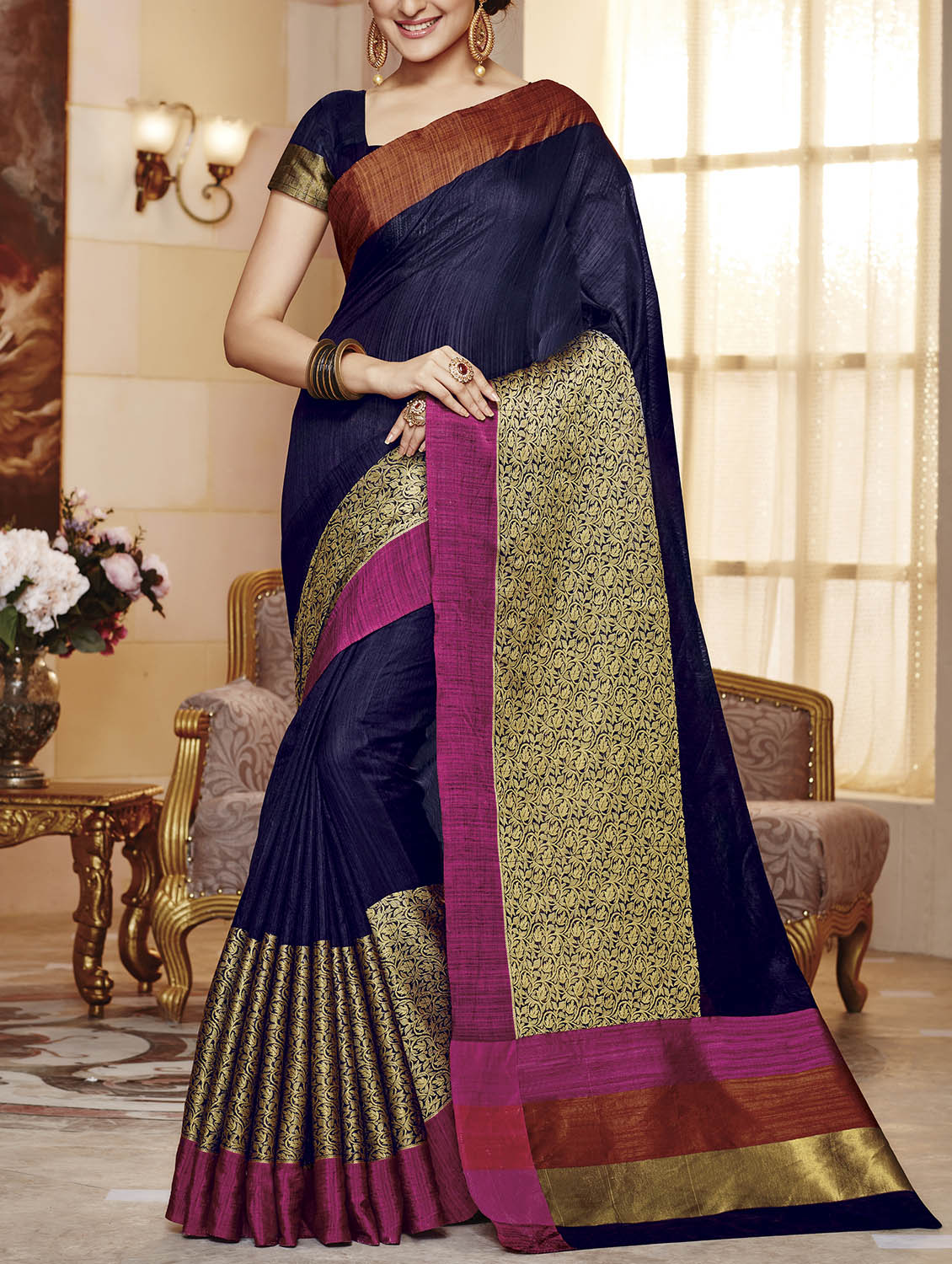 b3bea6fd2f5dcf ... blue raw silk woven saree with blouse - 13926031 - Zoom Image - 1