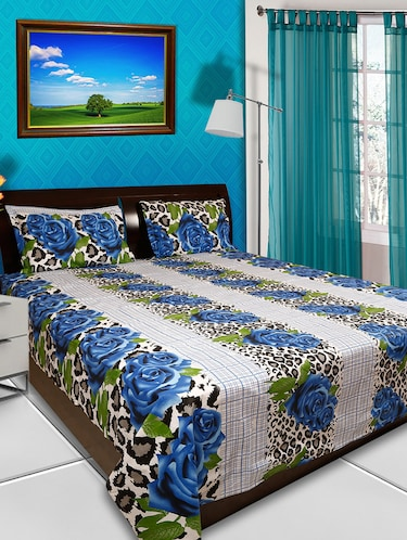 100% Organic Cotton Multicolored Floral  Printed Double Bed Flat Bedsheet with Pillow Covers - 13928219 - Standard Image - 1