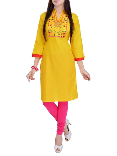 Buy Yellow Cotton Embroidered Straight Kurta for Women from Efy for