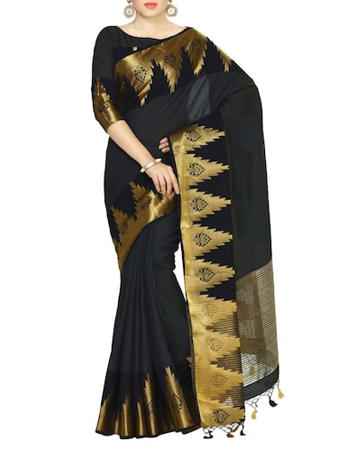 black art silk woven saree with blouse - 13982829 - Standard Image - 1