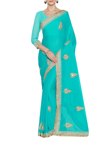 7adb8c02445 Buy Turquoise Embroidered Art Silk Saree With Blouse for Women from ...