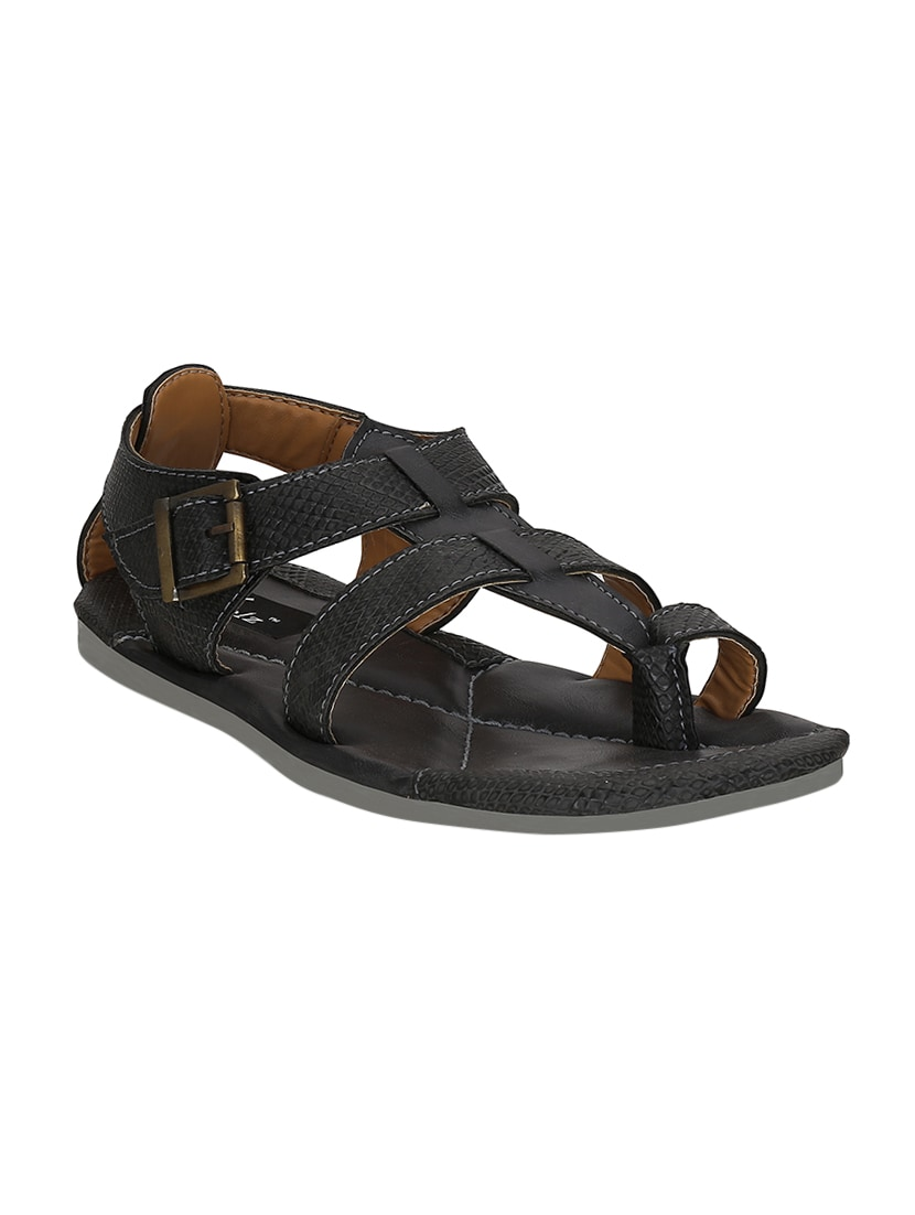 782cb69c3e4f94 Buy Black Leatherette Back Strap Sandal by Kielz - Online shopping ...