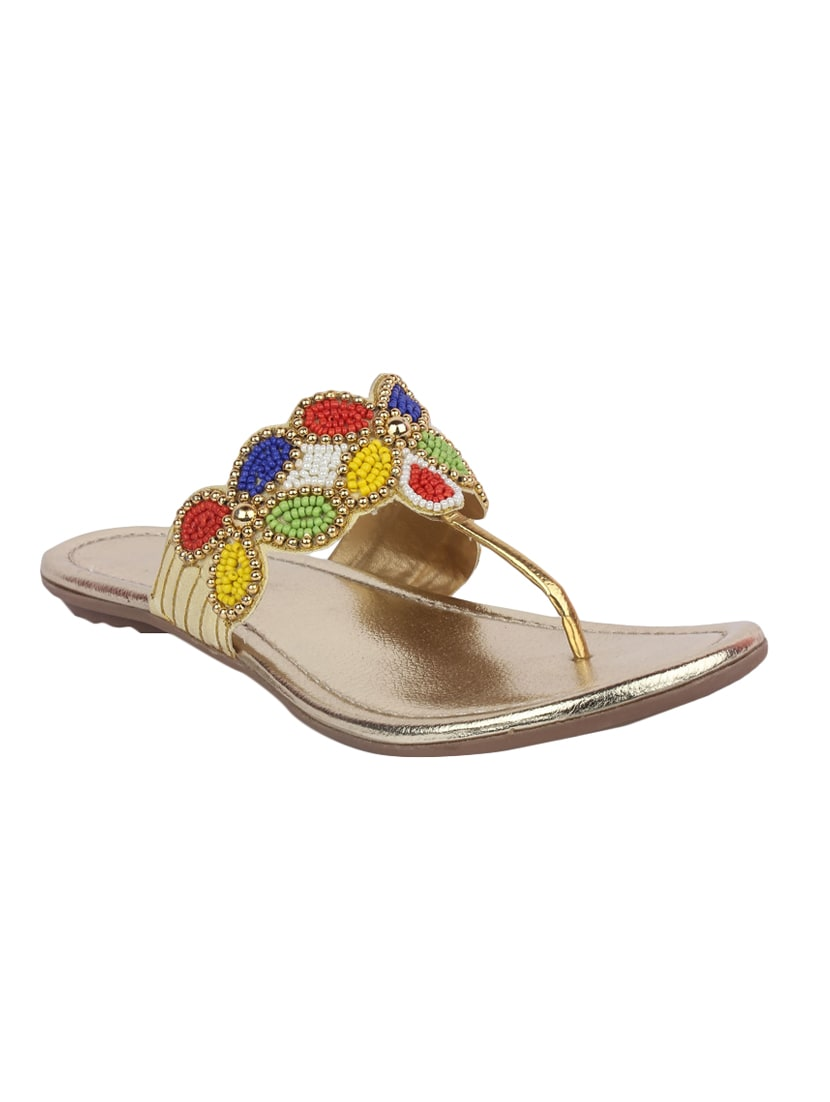 79ec4e90a Buy Gold T-strap Sandal by Appe - Online shopping for Sandals in India