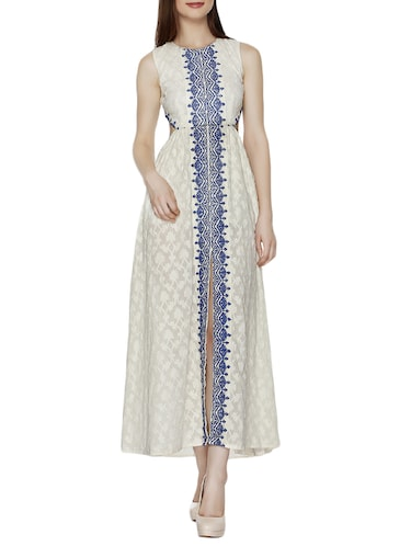 Buy online White Embroidered Cotton Maxi Dress from western wear ...