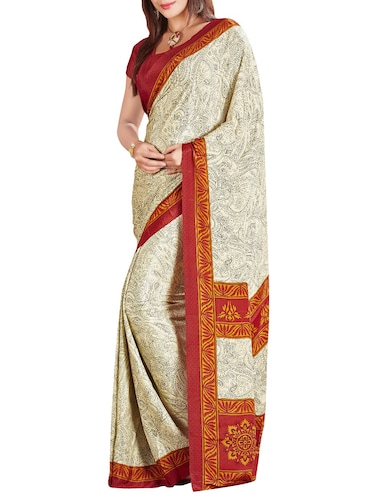 beige crepe printed saree with blouse - 14087925 - Standard Image - 1