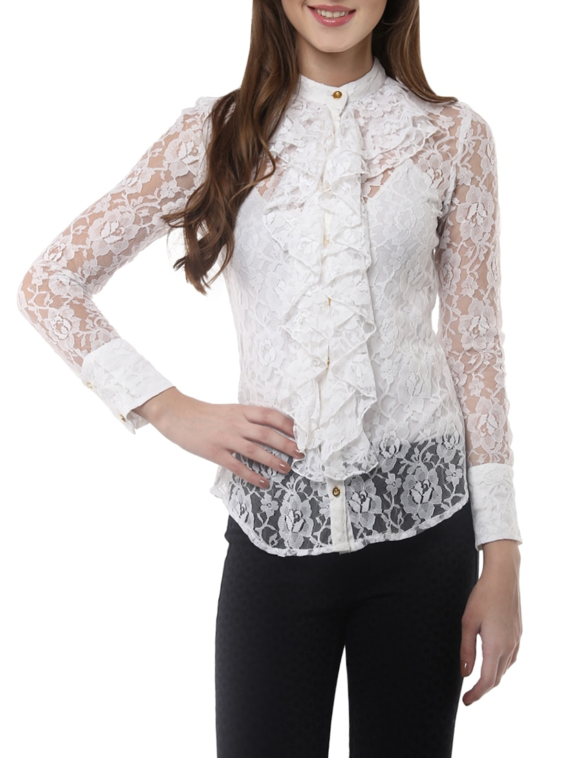 brand new 8afa5 a7477 Buy Lace Ruffle Shirt Top for Women from Stylestone for ...