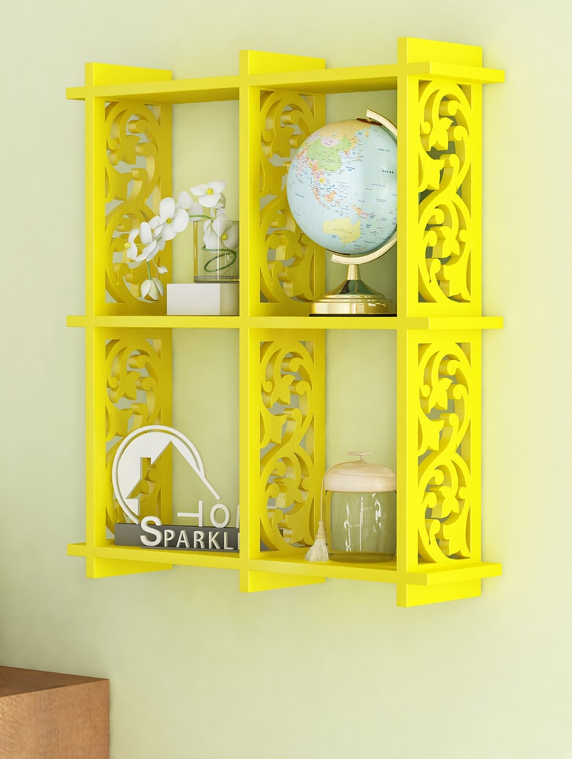 Buy Engineered Wood 4 Pocket Carved Wall Shelf By Home Sparkle by ...